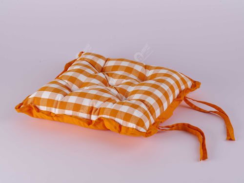 Frill Cushion - Block Check Orange
