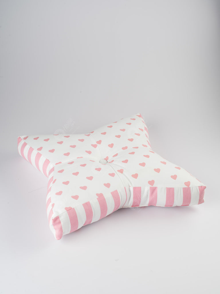 Star Floor Cushion - Large Hearts Pink