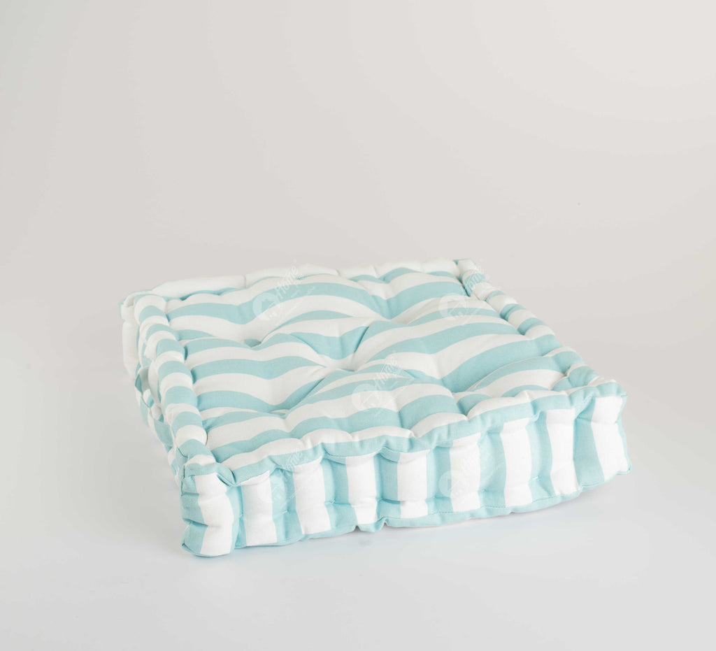 Floor Cushion - Thick Stripe Blue