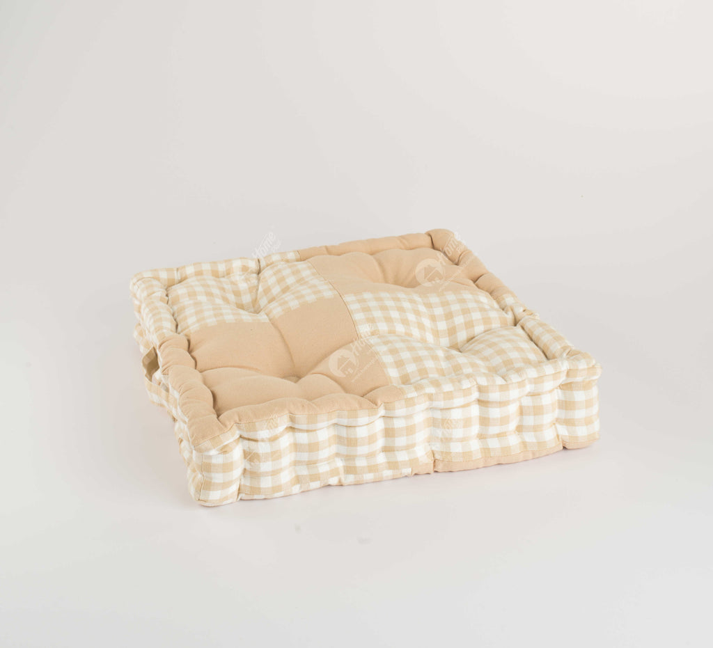 Floor Cushion - Gingam Cheak Beige J