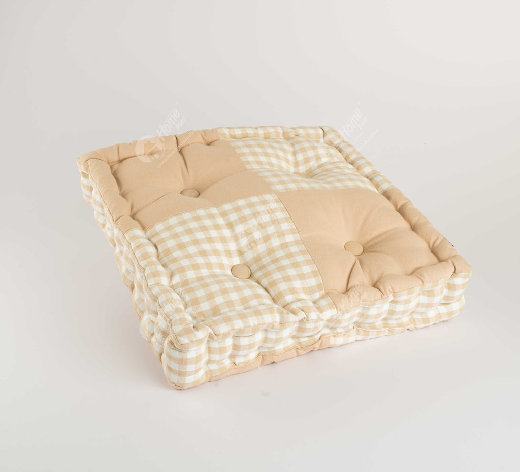 Floor Cushion - Gingam Check Beige