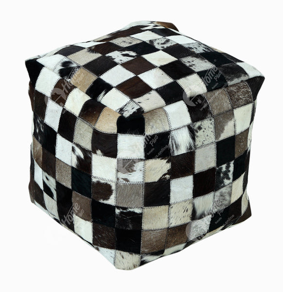 Pouffe - Hide Check Brown