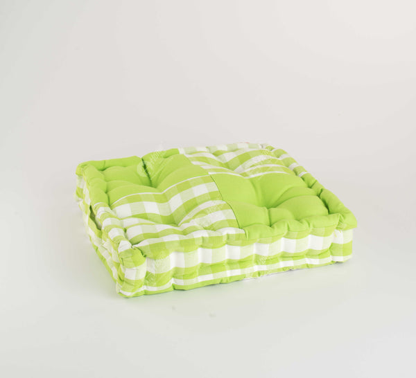 Floor Cushion - Block Check Green