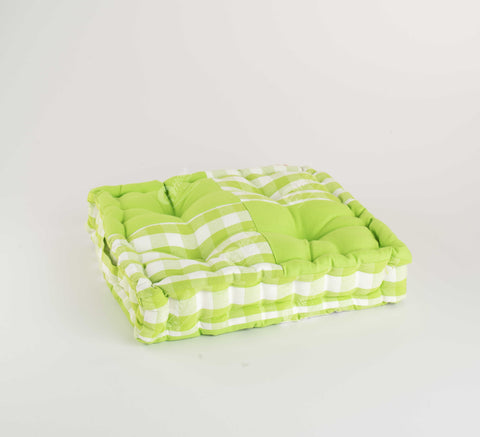 Floor Cushion - Block Cheak Green J