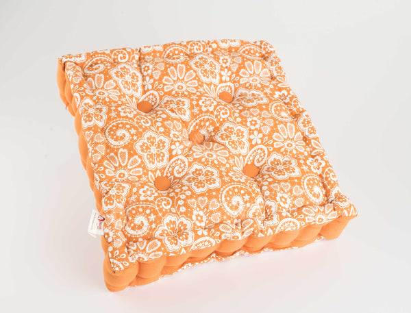 Floor Cushion - Lace Burnt orange