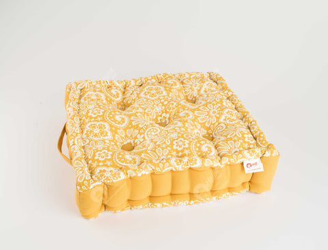 Floor Cushion - Lace Mustard