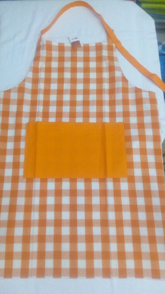 Apron Block Check Orange