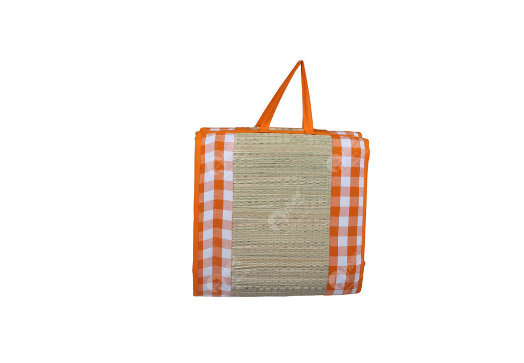 Travel Bed DF - Block Check Orange