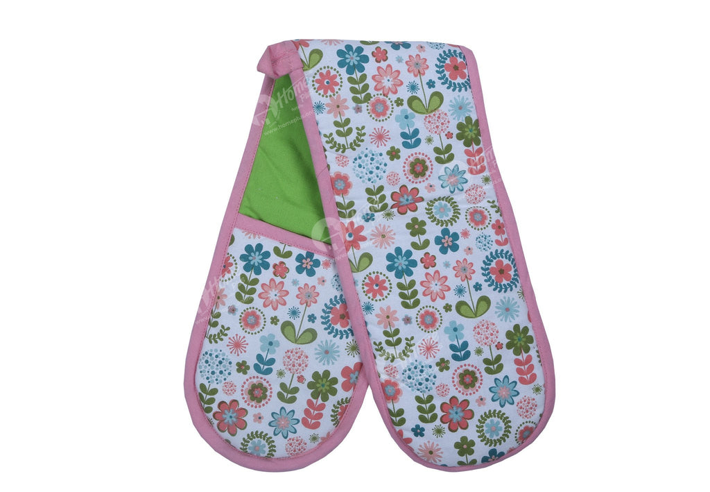 Double Oven Gloves - Retro Flowers
