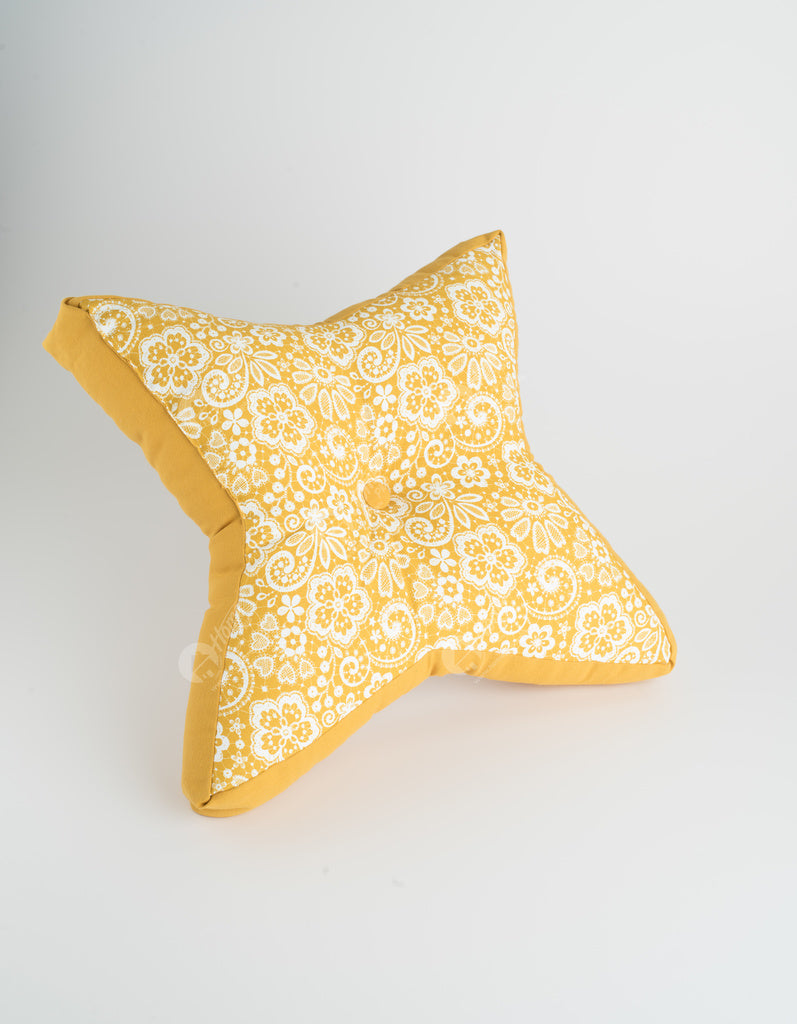 Floor cushion S - Lace Mustard