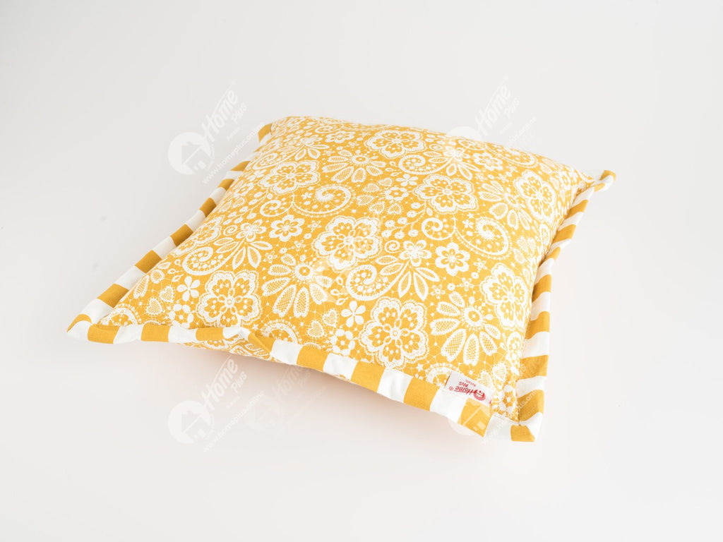 Flange Cushion - Lace Mustard
