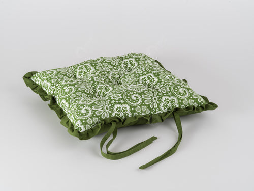 Frill Cushion - Lace Dark Olive