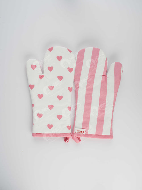 Glove - Large Hearts Pink