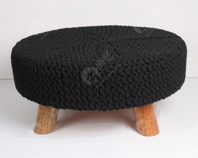 Knitted stool Black 62x62Cm