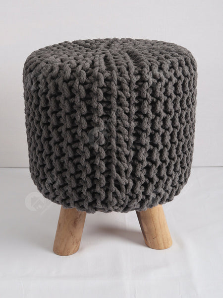 Knitted Stool Grey 32x32Cm