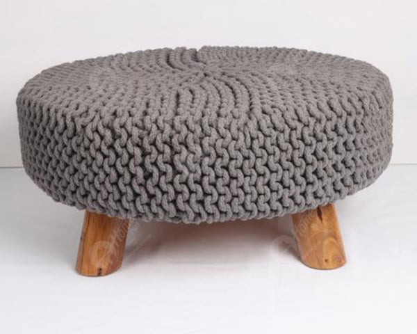 Knitted Stool Grey 62x62Cm