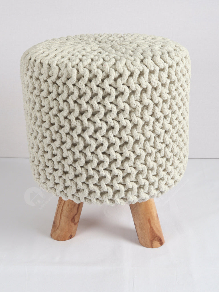Knitted Stool Off White 32x32Cm