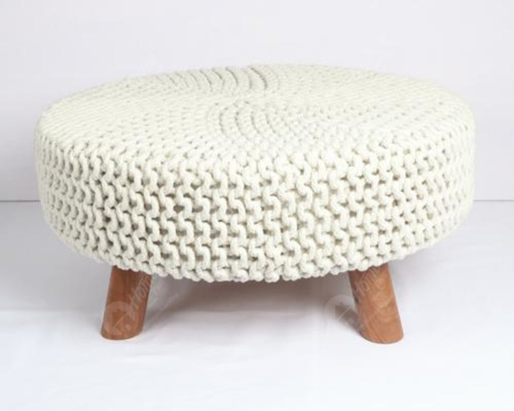 Knitted Stool Off White 62x62Cm