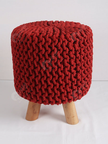 Knitted Stool Red 32x32Cm