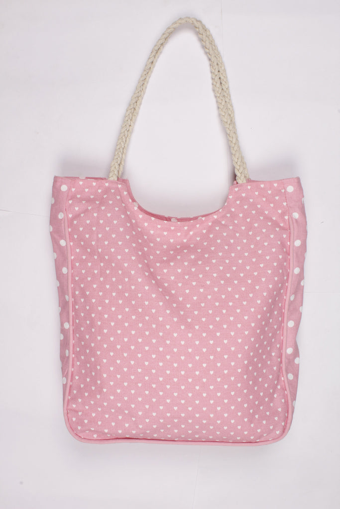 Handbag Large - Small Hearts Pink
