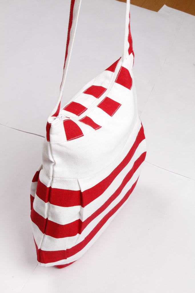 Fancy Bag Long Handle - Thick Stripe Red