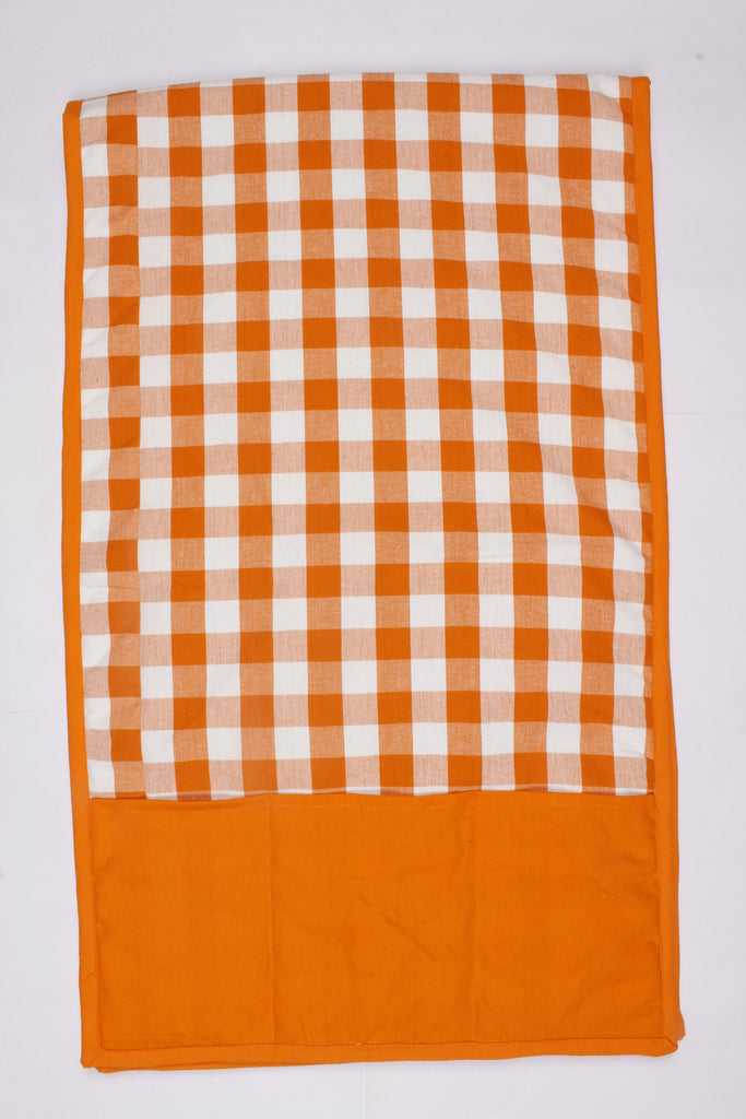 Fridge Cover - Block Check Orange