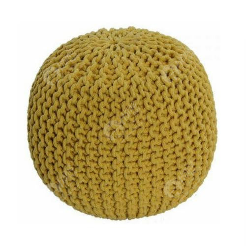 Knitted Pouffe Yellow