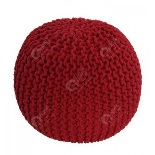 Knitted Pouffe Maroon