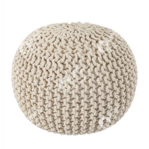 Knitted Pouffe Off White