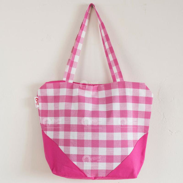 Shopping Bag - Block Check Pink