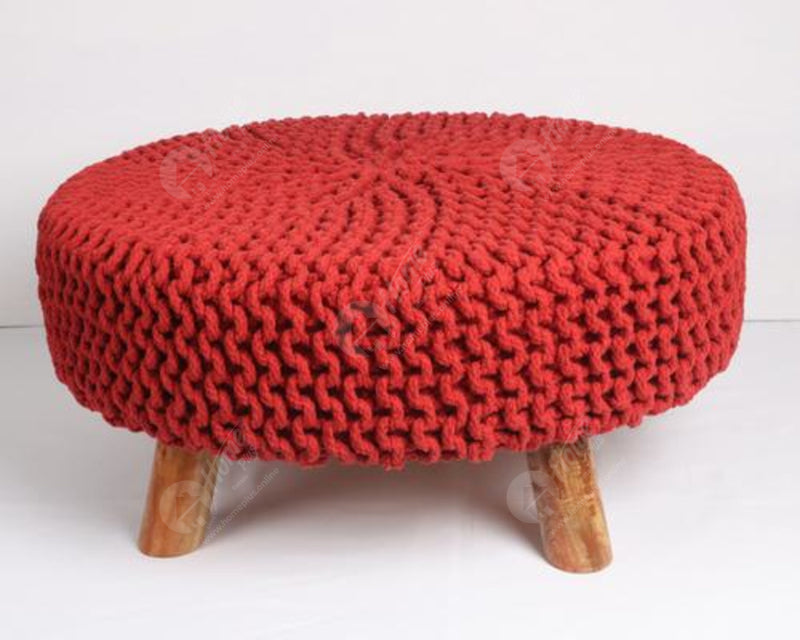 Knitted Stool Red 62x62Cm