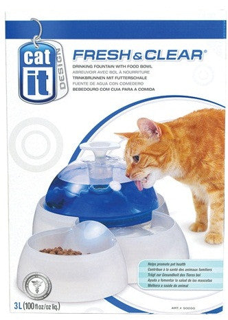 Catit Design Fresh & Clear Cat Drinking Fountain with Food Bowl - XclusivePets - 1