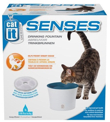Catit Design Senses Drinking Fountain, With Water Softening Filter - XclusivePets - 1