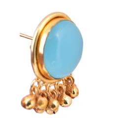 Blue Stone Ghungroo Earrings - mrinalinichandra - 2