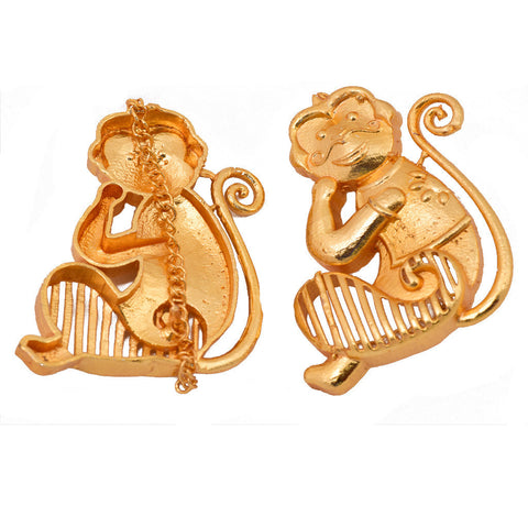 Shakuntala Playful Monkey Hangling Ferns Earring