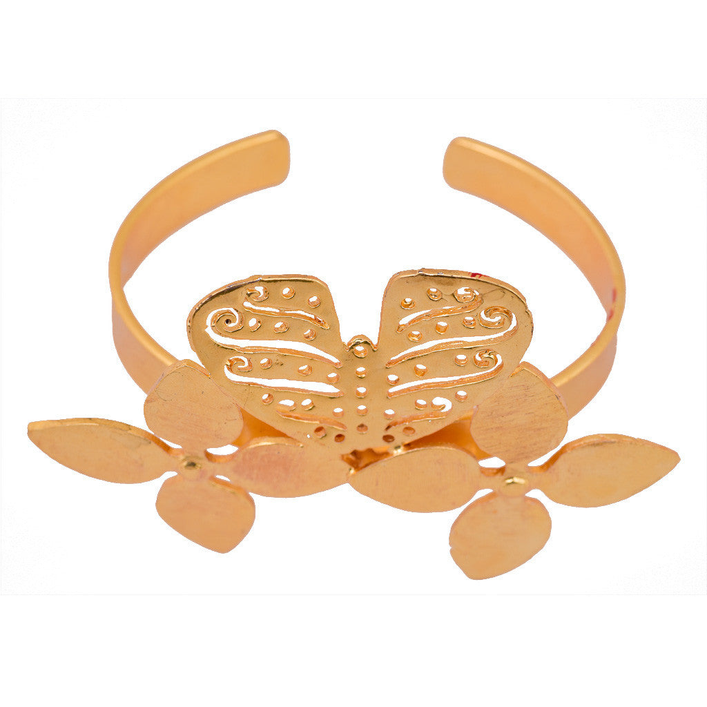 Gold Plated Butterfly Bangle - mrinalinichandra - 5