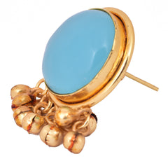Blue Stone Ghungroo Earrings - mrinalinichandra - 3