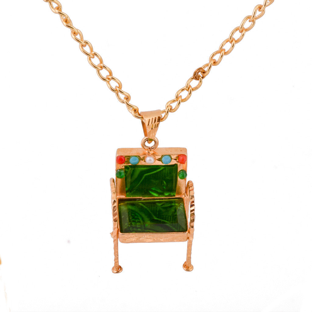 Please Have a Seat Chair Necklace - Green - mrinalinichandra - 7