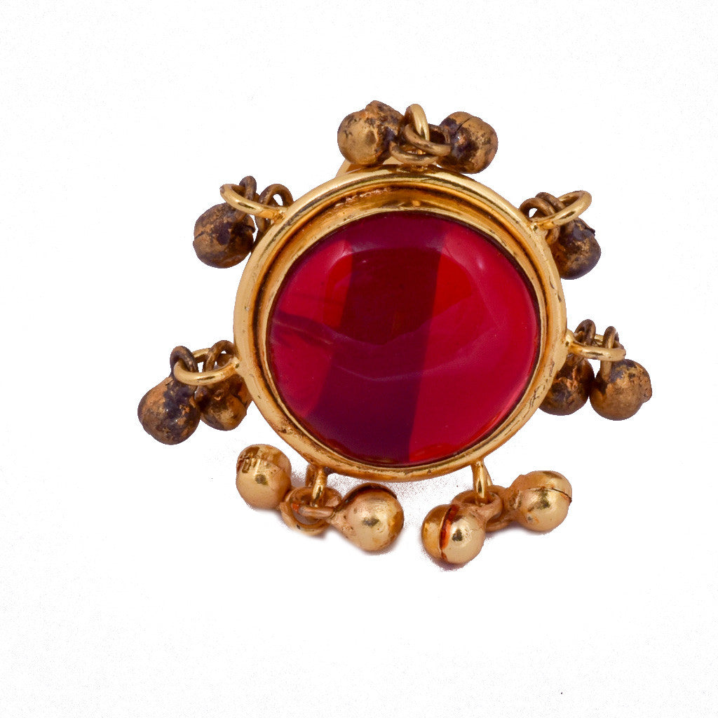 Red Ghungroo Ring - mrinalinichandra - 1