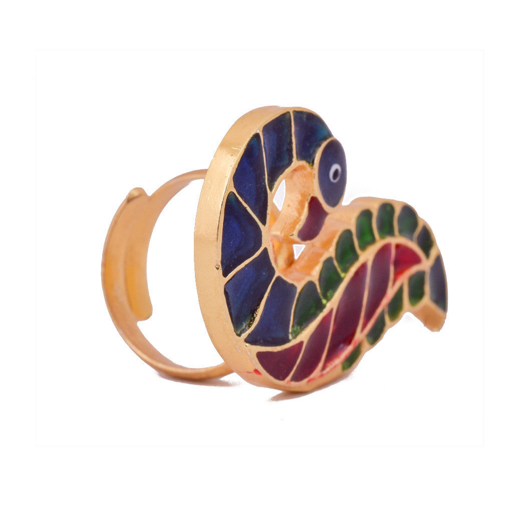 Beautiful Peacock Meena Ring - mrinalinichandra - 2