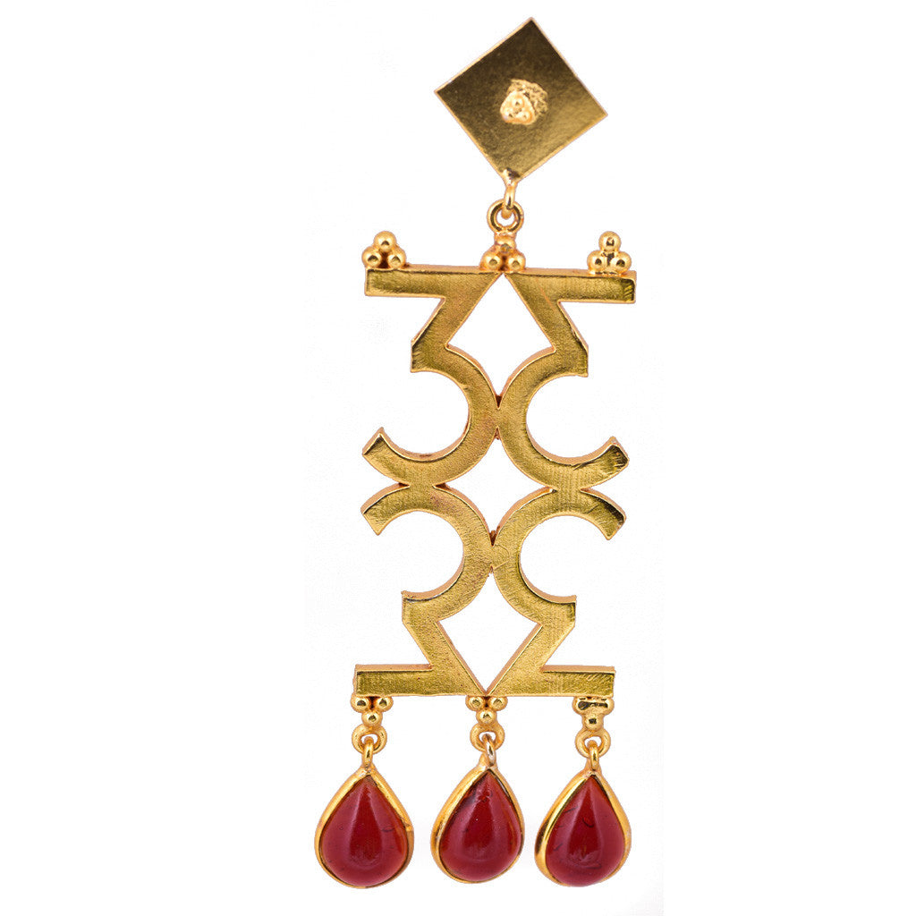 Mathematics Number 3 Red Stone Earring - mrinalinichandra - 1