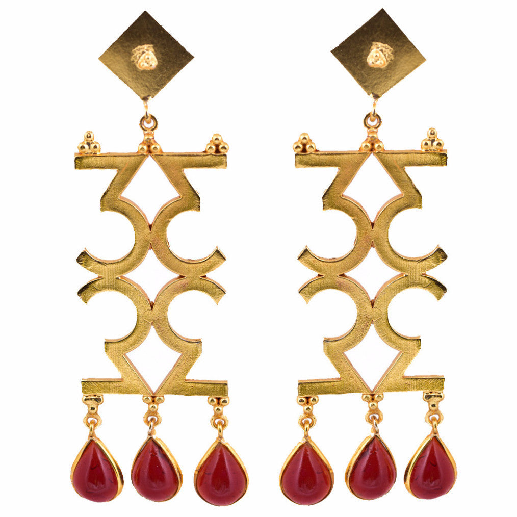 Mathematics Number 3 Red Stone Earring