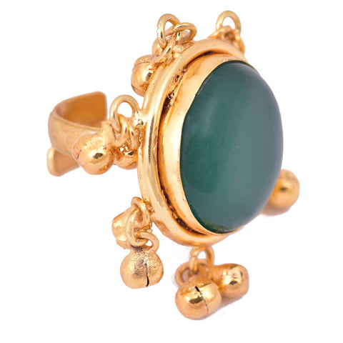 Gold Plated Green Stone Round Ring - mrinalinichandra - 1