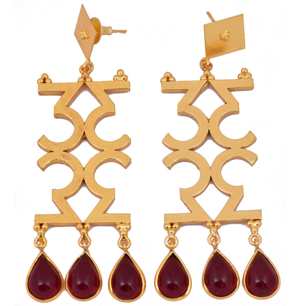 Mathematics Number 3 Red Stone Earring - mrinalinichandra - 2