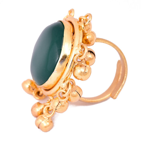 Gold Plated Green Stone Round Ring - mrinalinichandra - 2