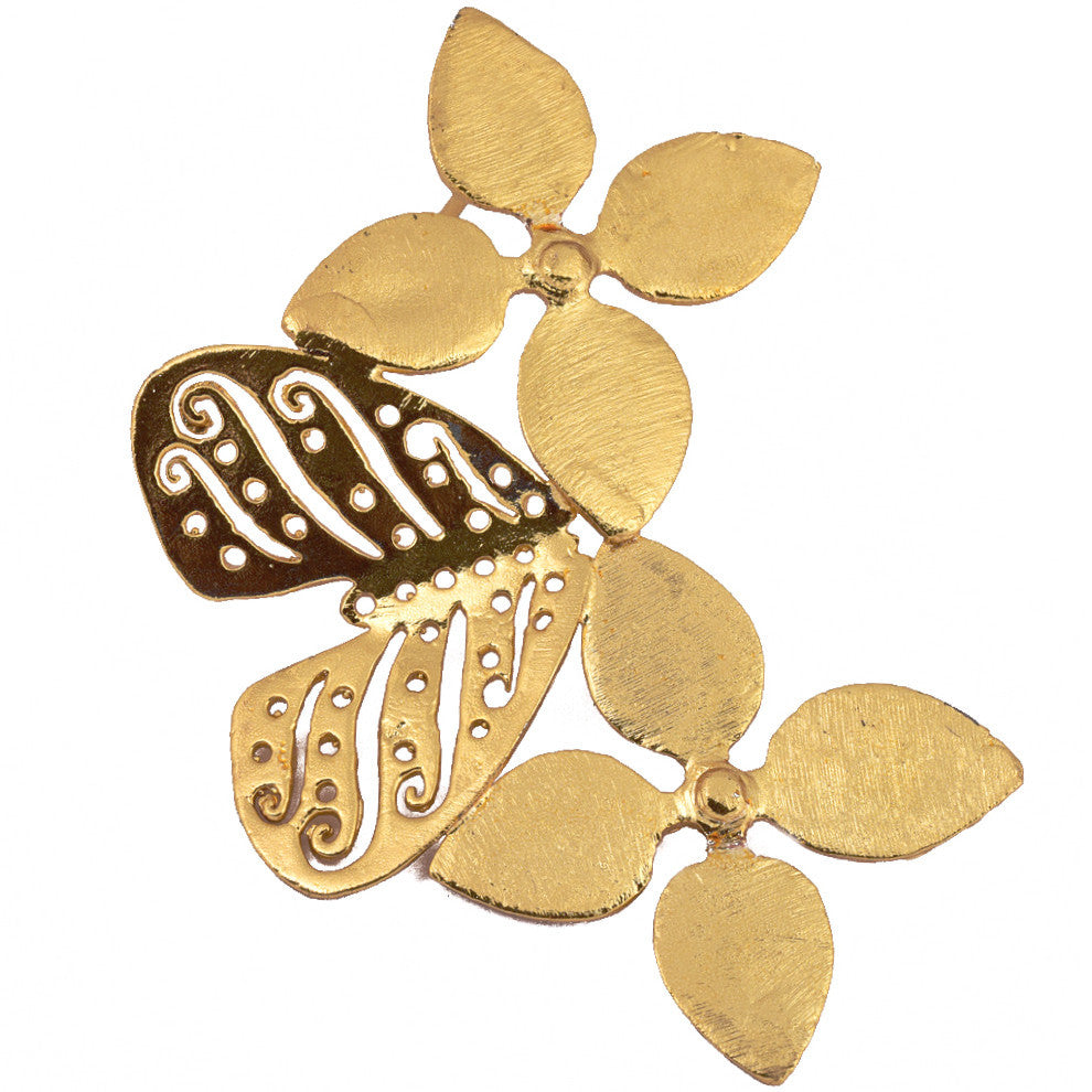 Shakuntala Flower Butterfly Earring- Vertical - mrinalinichandra - 1