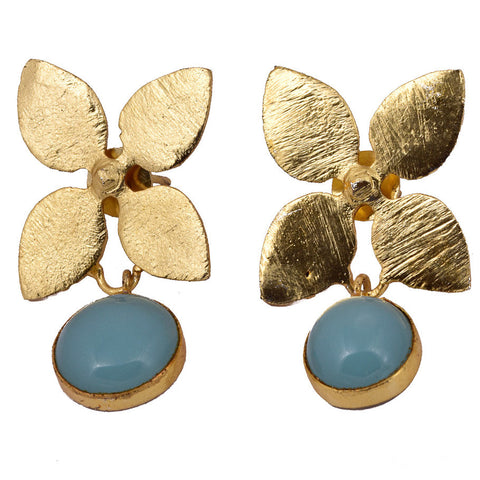 Shakuntala Sea Green Stone Flower Earrings