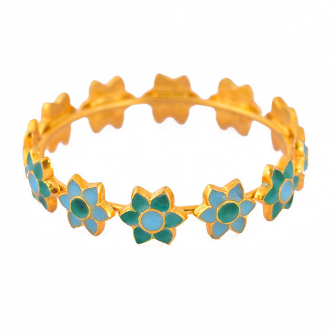 Gold Meena Flower Bangles