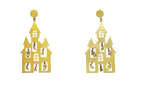 Please Have A Seat Double Triangular Dangling Chair Earrings