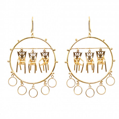 Chair Back inspired Giant Wheel Earrings